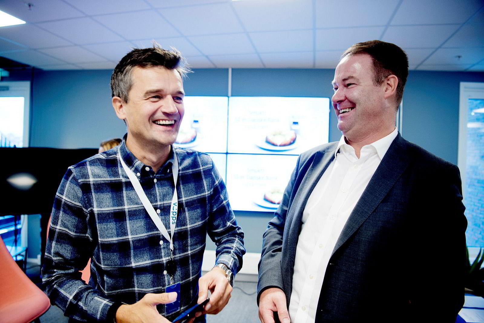 Vipps-sjef Rune Garborg (til venstre) og Danske Banks norgessjef Trond F. Mellingsæter fortalte om samarbeid i slutten av oktober. På forhånd hadde konsernsjefene i DNB og Danske Bank blitt enige.
