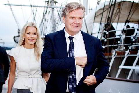 2013. Tor Olav Trøim og kjæresten Celina Midelfart på vei fra fest på Christian Radich under Nor-Shipping i 2013. Sammen fikk de sønnen Olav i 2011.