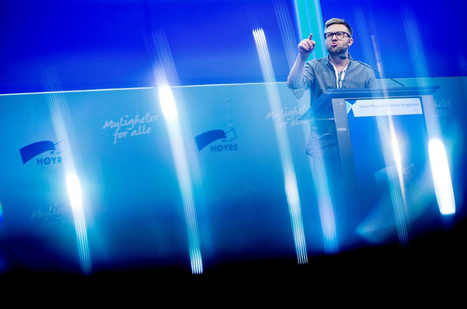 – Equinor har ikke klart å innfri forventningene som ble skapt lokalt, sier Høyre-representant Stefan Heggelund, her under partiets landsmøte.