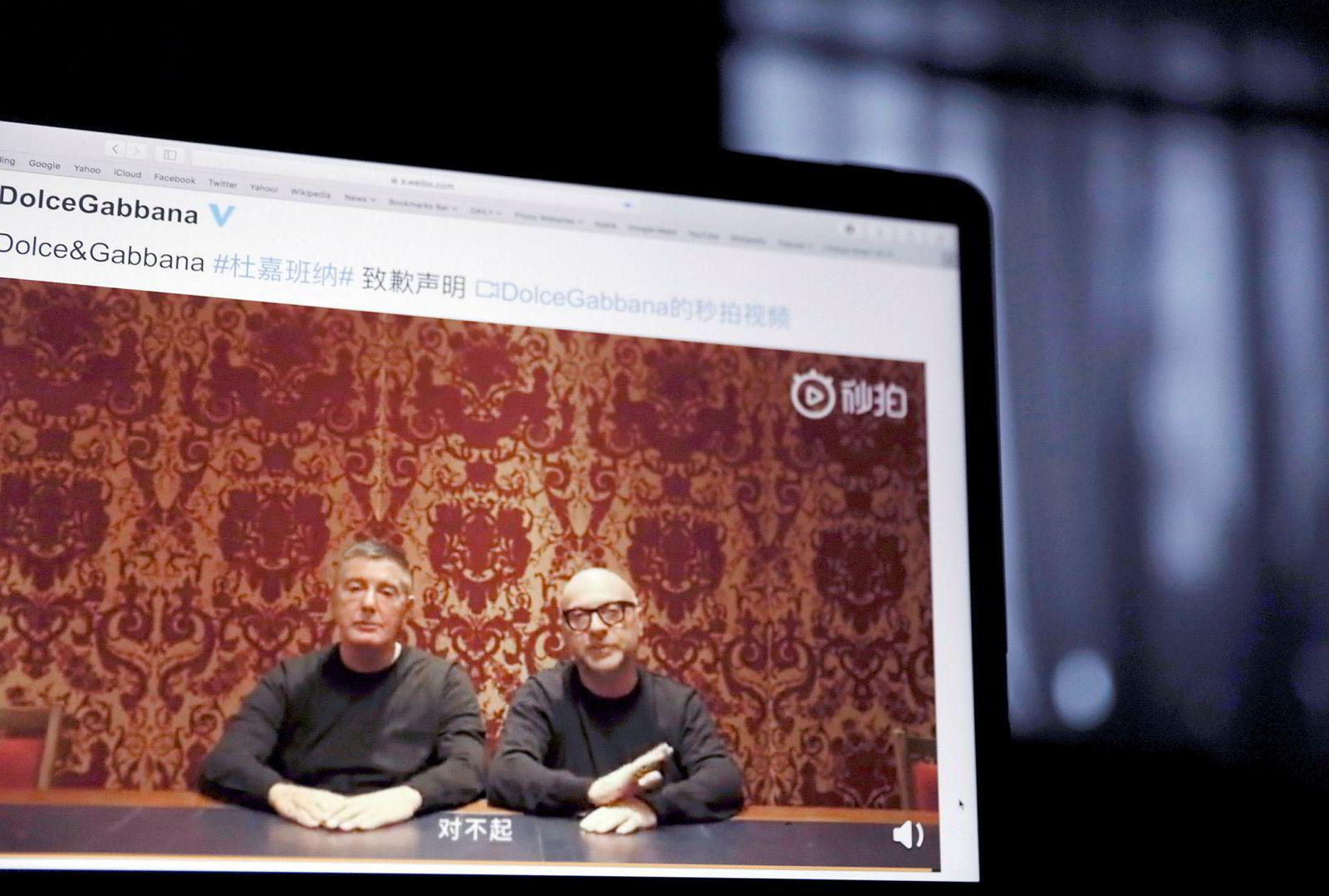 Grunnleggerne av Dolce & Gabbana, Domenico Dolce og Stefano Gabbana, forsøker å drive brannslukning i Kina ved å beklage i en video. Dette kommer etter at selskapet er utsatt for boikott og kunder brenner selskapets produkter i protest mot en reklamekampanje og uttalelser fra Gabbana.