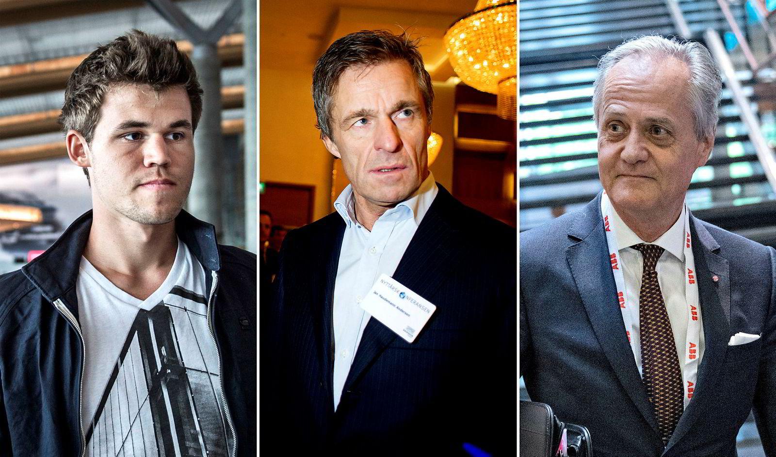 Idekapital Fund 1 forvalter en halv milliard kroner på vegne av blant andre sjakkspiller Magnus Carlsen (fra venstre) og investorene Jan Haudemann-Andersen og Kristian Siem.