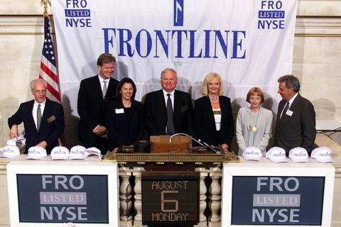 2001. Skipsingeniøren Trøim skulle de neste årene stå bak en rekke av børsnoteringer av Fredriksen-selskaper. Her fra Frontlines børsnotering på New York-børsen i 2001.