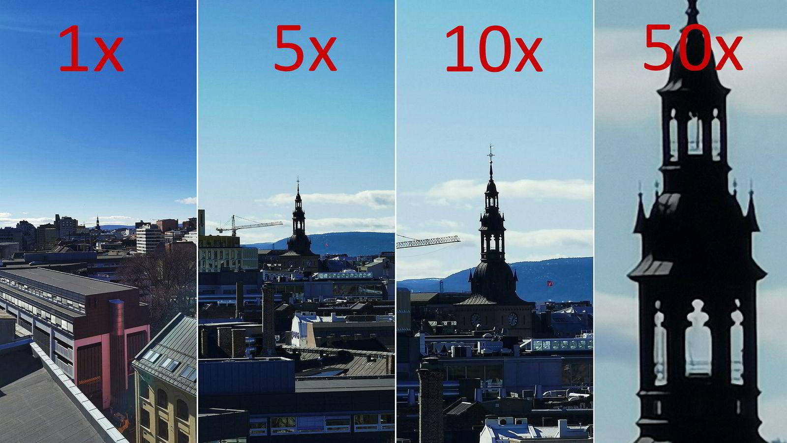 Slik blir billedkvaliteten Huawei P30 Pro presterer i motlys med ulike zoom-steg. 1x og 5x er ren optisk zoom, 10x er en hybrid av optisk og digital zoom og 50x er ren digital zoom.