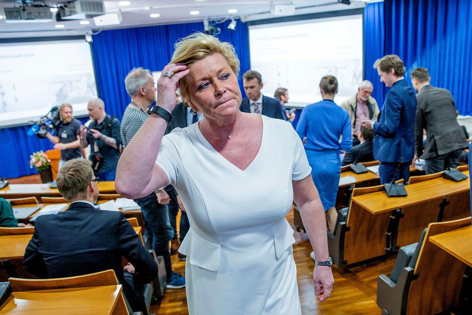 Finansminister og Frp-leder Siv Jensen samler onsdag troppene til ekstraordinært landsstyremøte om bompenger.
