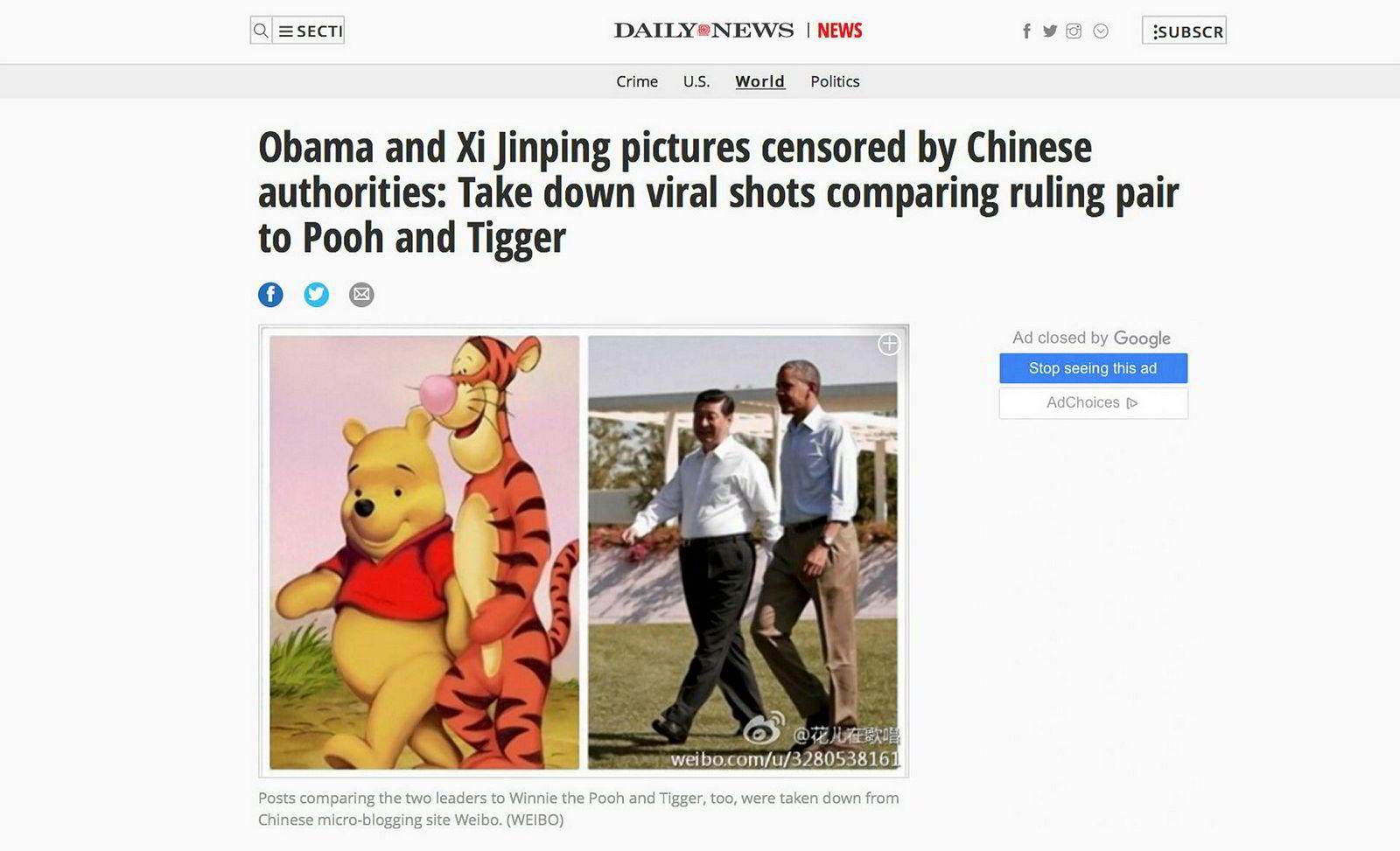 Slike bilder, der Kinas president Xi Jinping sammenliknes med Ole Brumm, forsøkes sensureres i Kina. Her fra en artikkel i Daily News.