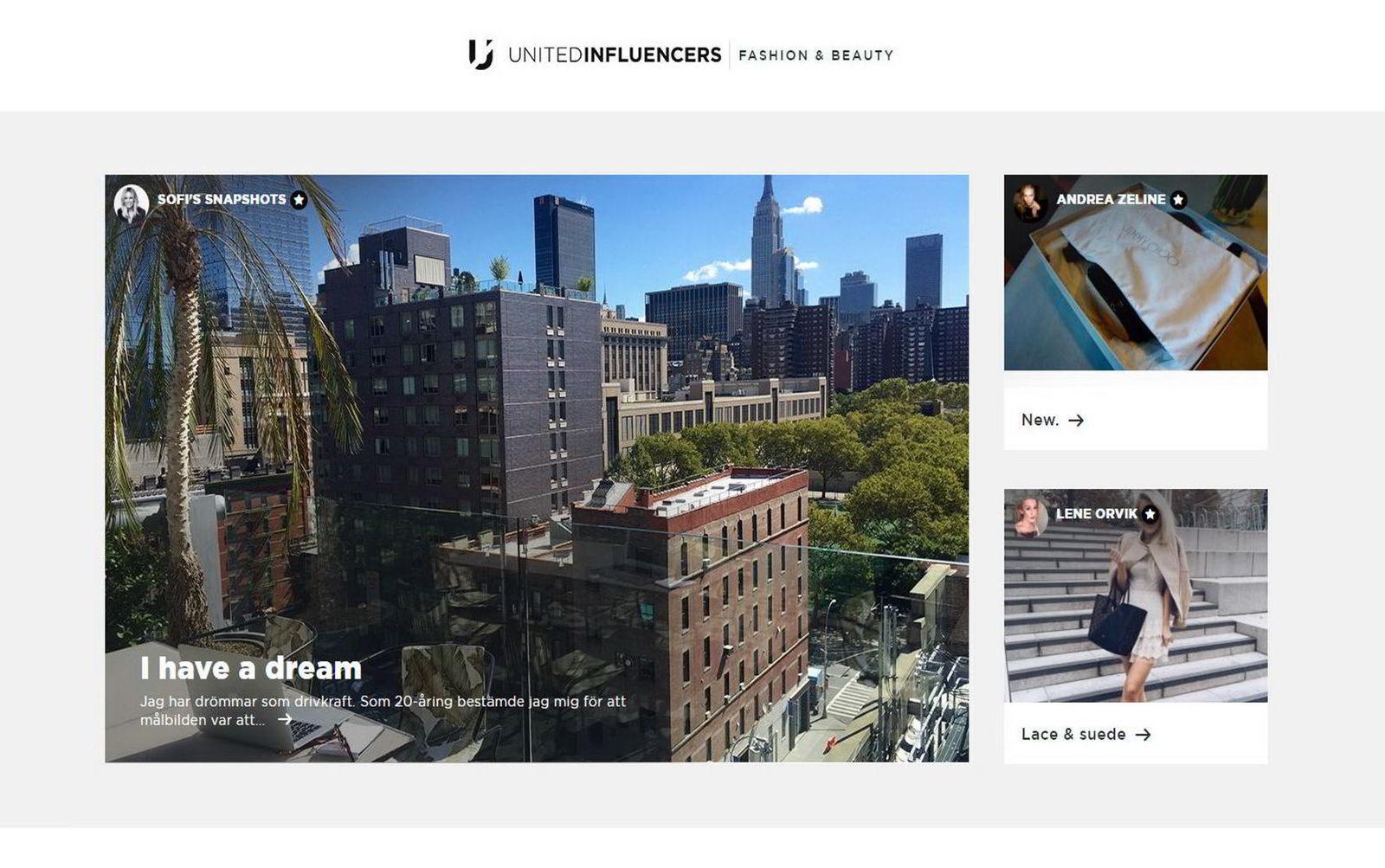 Slik presenterer United Influencers bloggerne sine. (faksimile)