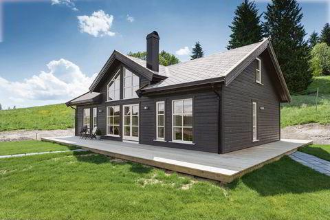 Mange vil gjerne ha tradisjonell hytte, men færre småruter. Denne modellen selger godt ifølge FH Gruppen.                 Illustrasjon: FH Gruppen