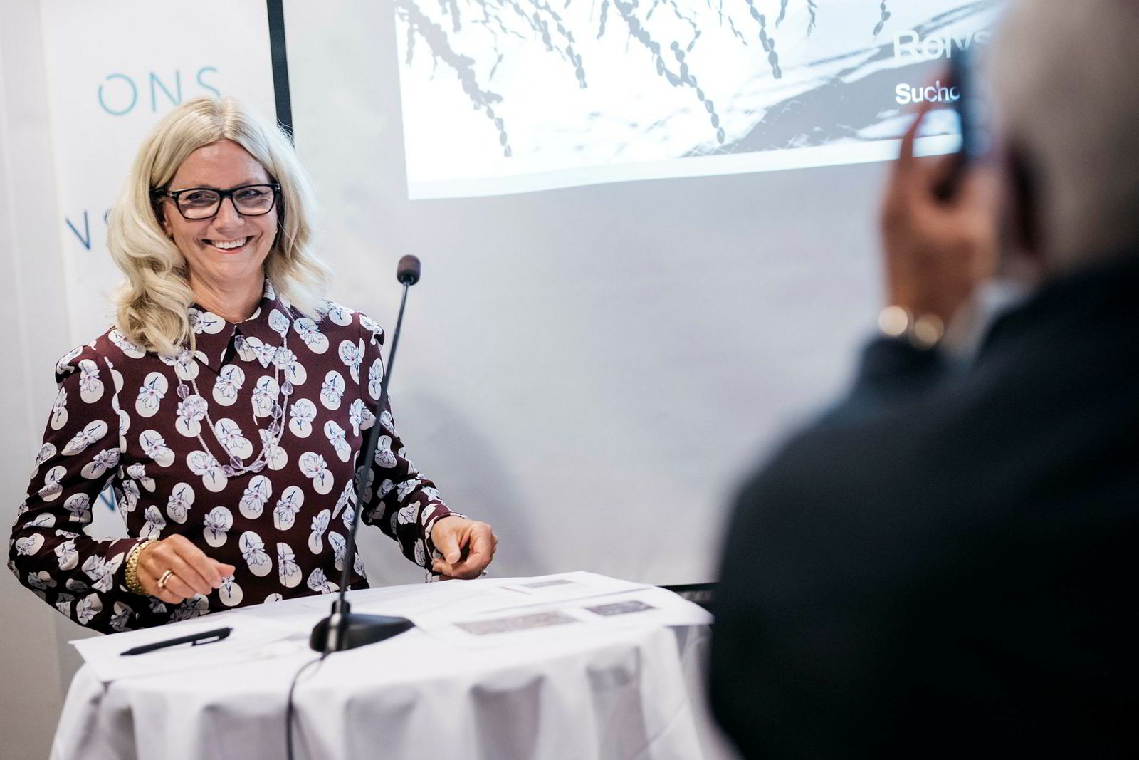 Administrerende direktør Kristin Færøvik og letedirektør Halvor Jahre i Lundin holder pressekonferanse dag 1 av ONS I Stavanger.