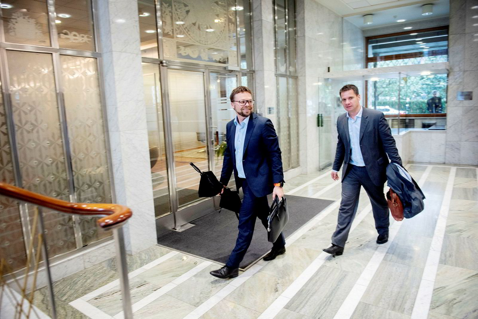 Administrerende direktør Anders Fjeld i Kid (til venstre) og finansdirektør Henrik Frisell.