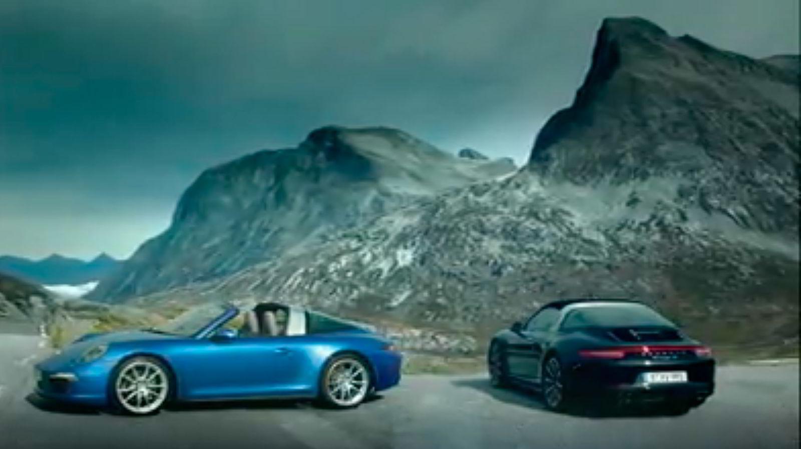 Her er Porsche 911 Targa i den norske fjellheimen. Skjermdump fra video.