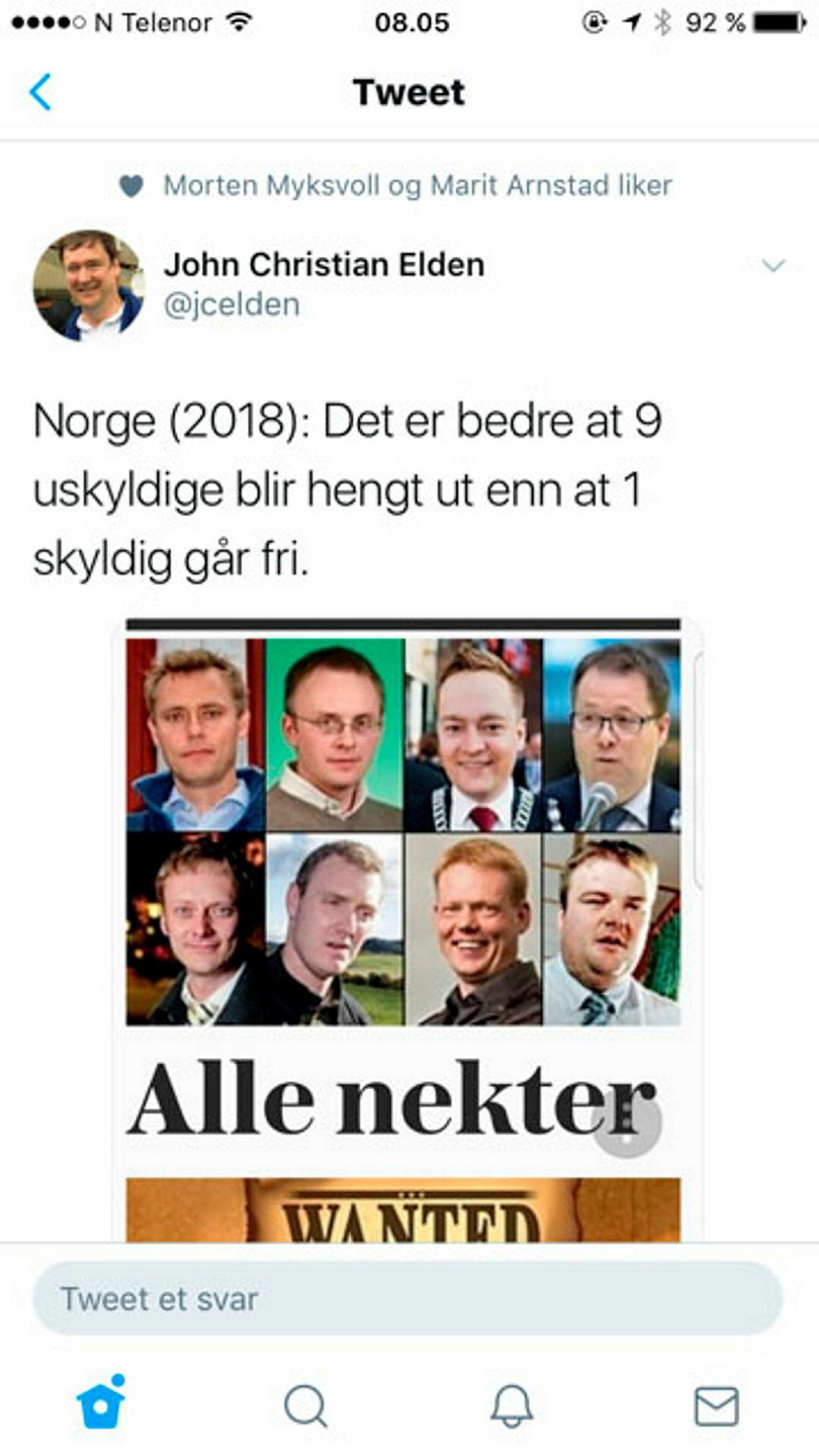 Skjermdumpen viser at Senterpartiets parlamentariske leder, Marit Arnstad, likte Twitter-meldingen fra Elden tidligere. Den andre som liker på bildet er Bergens Tidende-kommentator Morten Myksvoll.