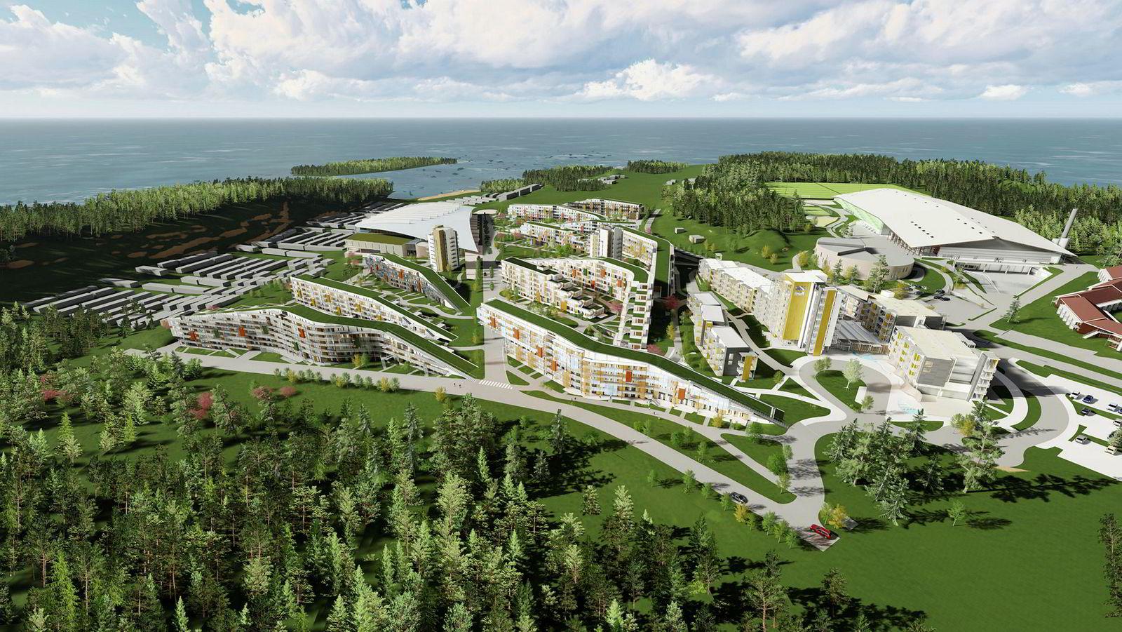 Slik blir gigantanlegget på Brunstad seende ut når det er ferdig i 2021. Ti av 15 hotellblokker vil være ferdige i år.
