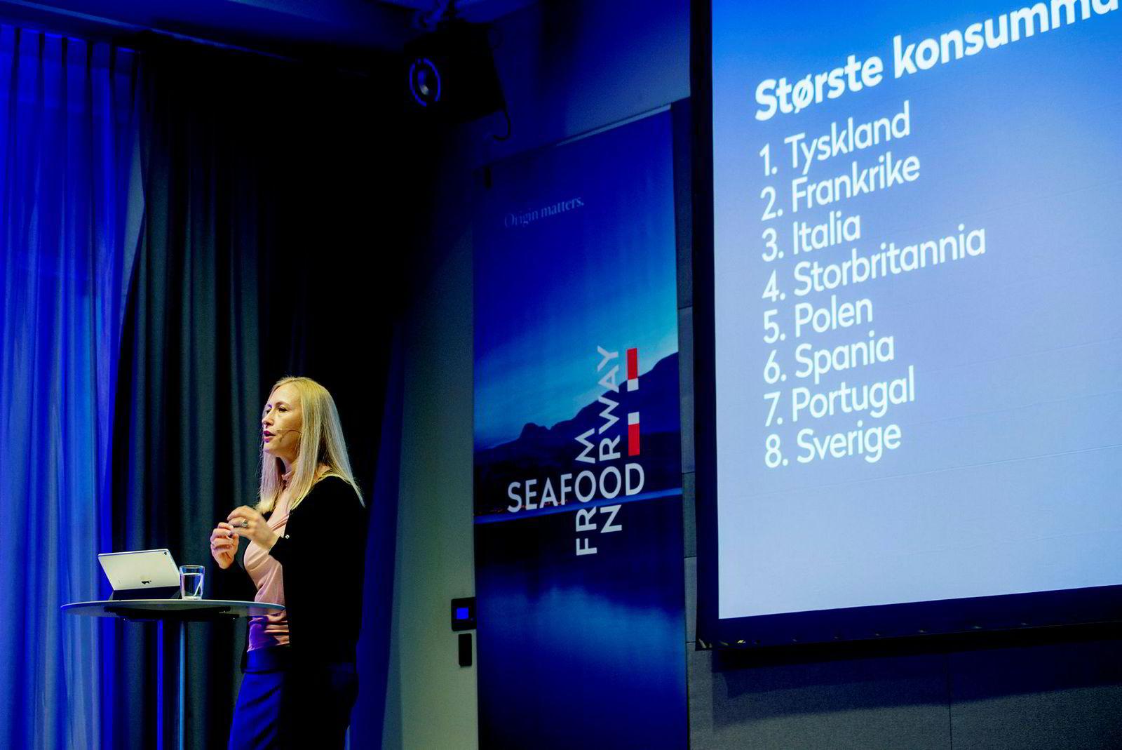 Administrerende direktør i Renate Larsen presenterte mandag Norges Sjømatråds årstall for 2017.