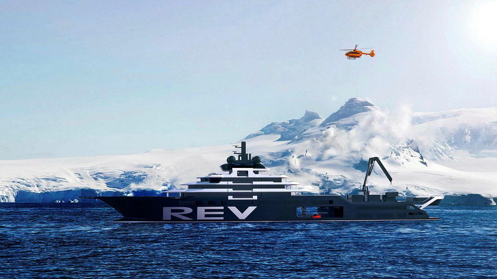 Slik skal Kjell Inge Røkkes nye forskningsskip «Rev» bli seende ut når det er ferdig i 2020.
