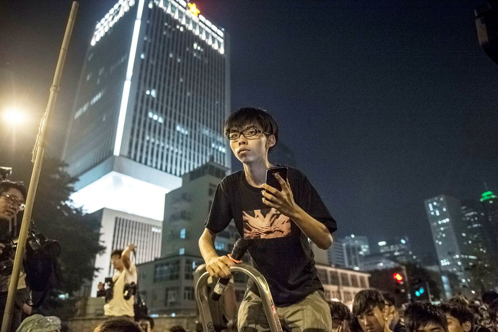 DN møtte Joshua Wong, den gang 17 år, i Hongkongs gater i 2014.