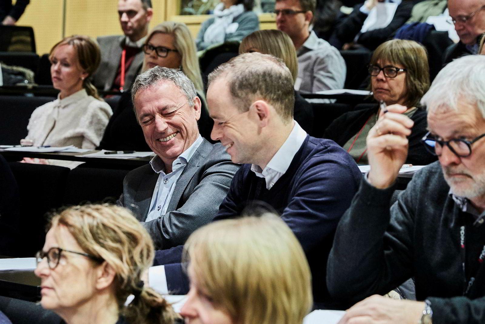 Konsernsjef Are Stokstad og økonomidirektør Gisle Torheim i Amedia la fredag frem konsernets årsresultat.