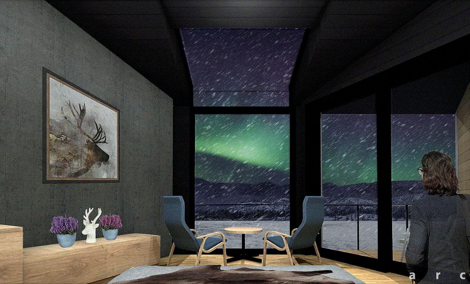 Slik ser Sorrisniva for seg utsikten fra en av de nye suitene en vinternatt i 2021.