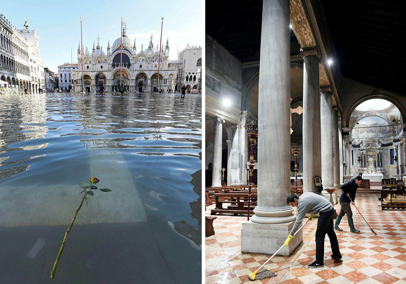 En rose flyter i vannet ved den oversvømte Markusplassen. Inne bygningene tørkes det gulv.