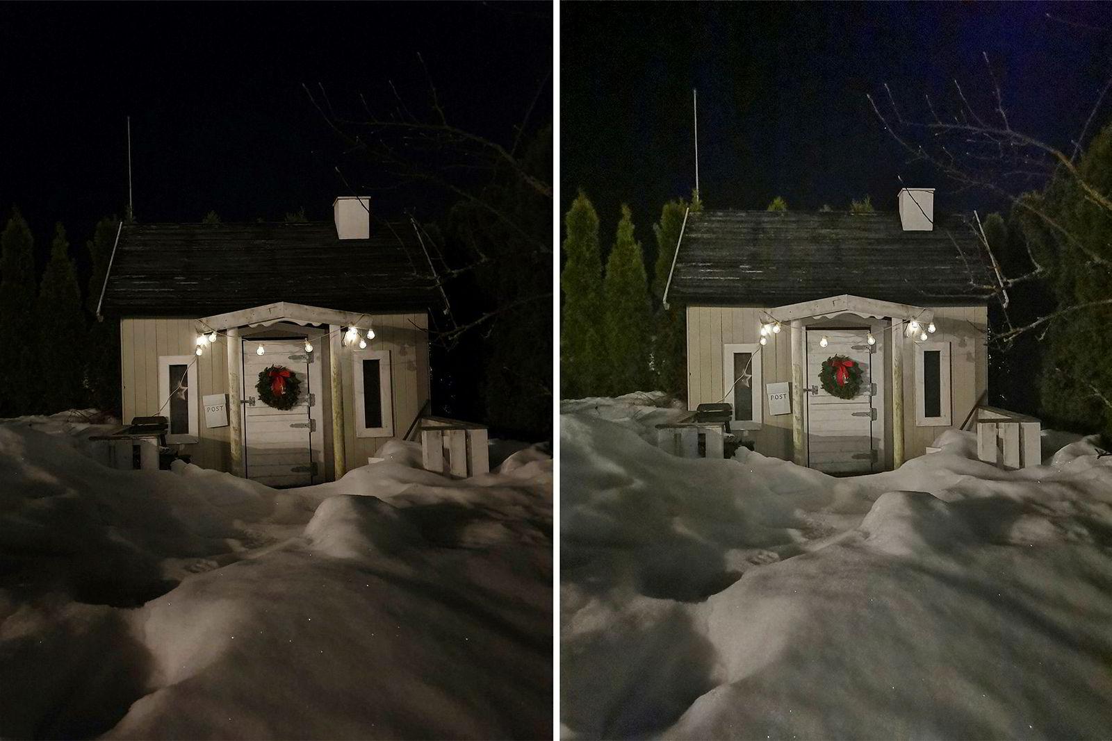 Nattmodus. Galaxy S10+ til venstre, Huawei Mate 20 Pro til høyre.