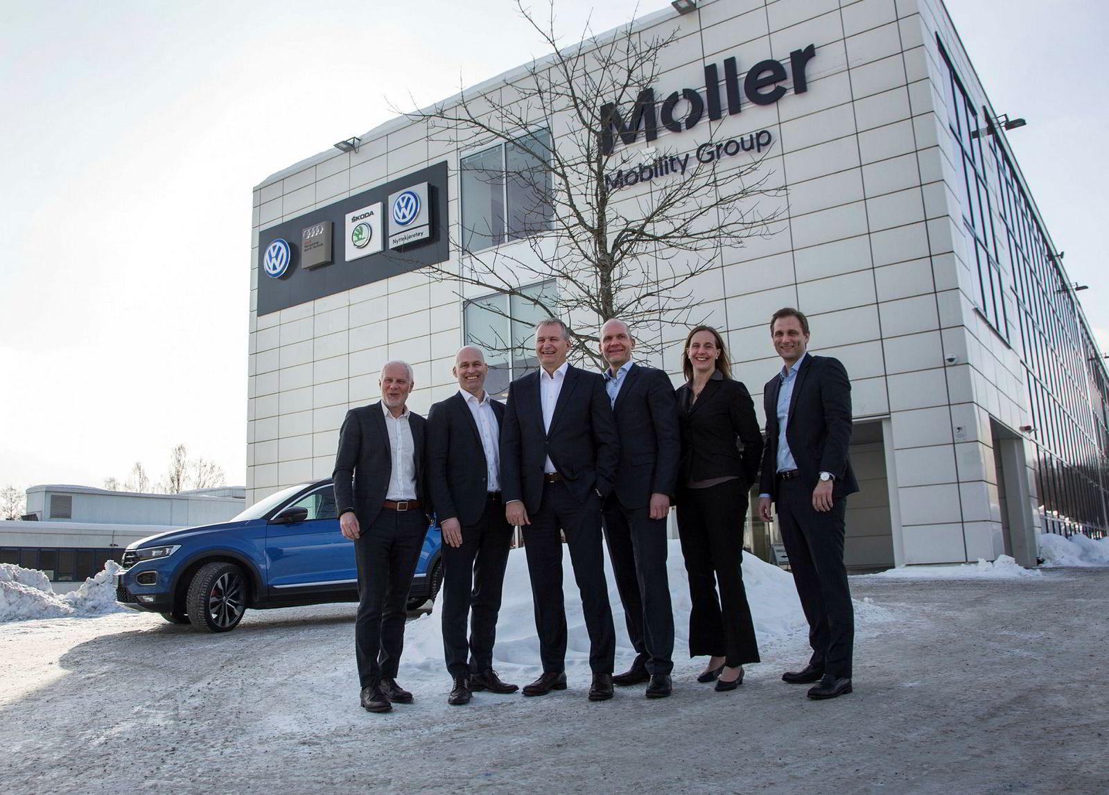Ledelsen i Møller Mobility Group i 2017. Fra venstre Paul Hegna, Vidar Eriksen, Terje Male, Ulf Tore Hekneby, AnnaNord Bjercke og Petter Hellman.