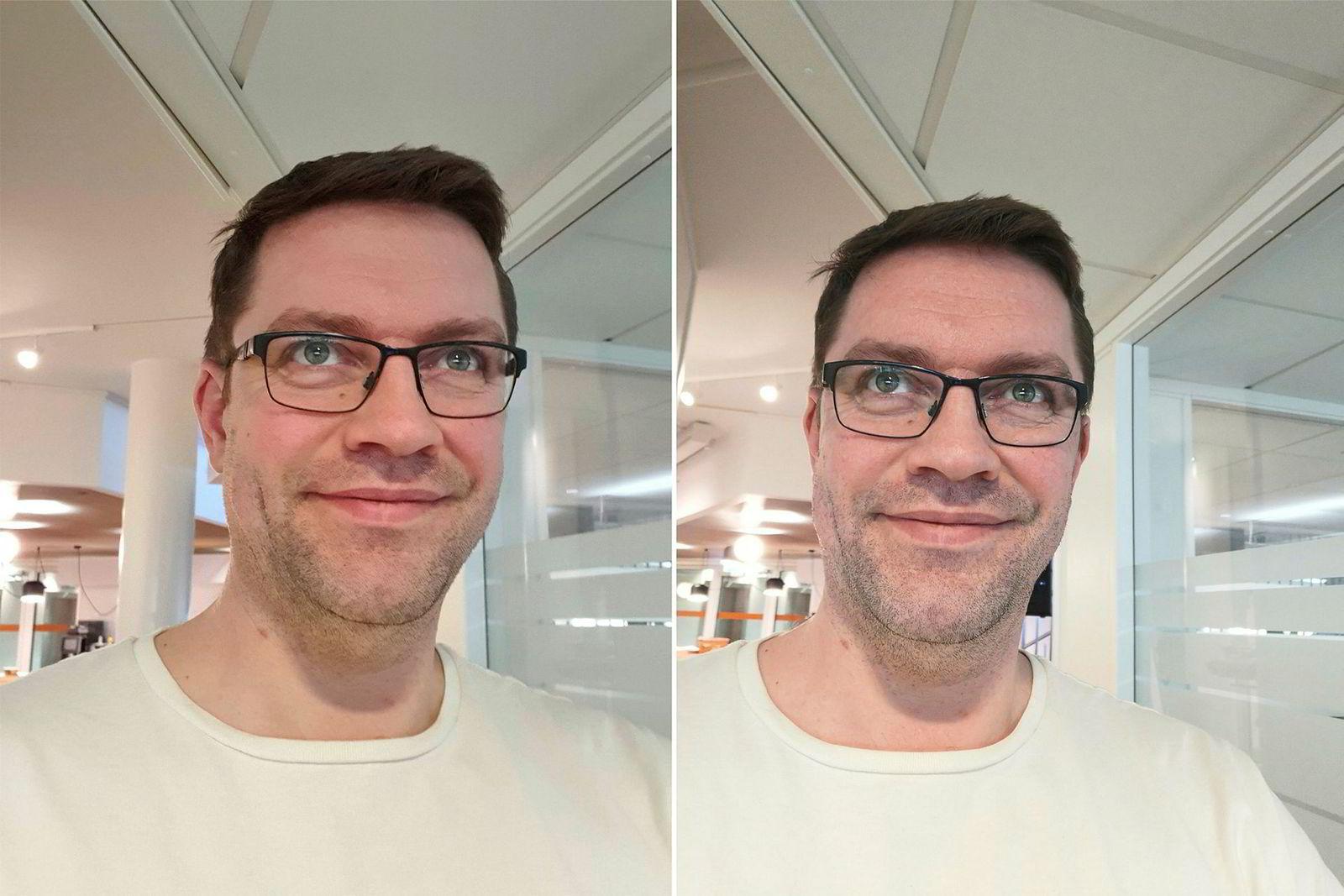 Selfie i godt lys, Galaxy S10+ til venstre, Mate 20 Pro til høyre.