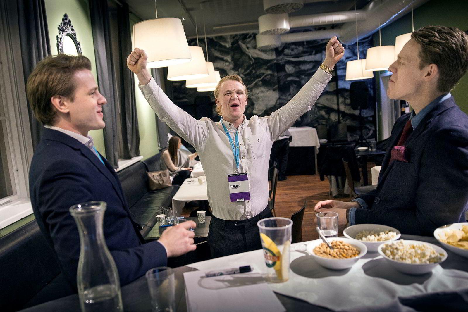 Flowmotion er oppstartsselskap fra Trondheim. Her representert ved tre av gründerne, fra venstre: Lars Mangerud Flesland, Didrik Dege Dimmen og Eirik Husby Dyrset. Foto: Ole Morten Melgård