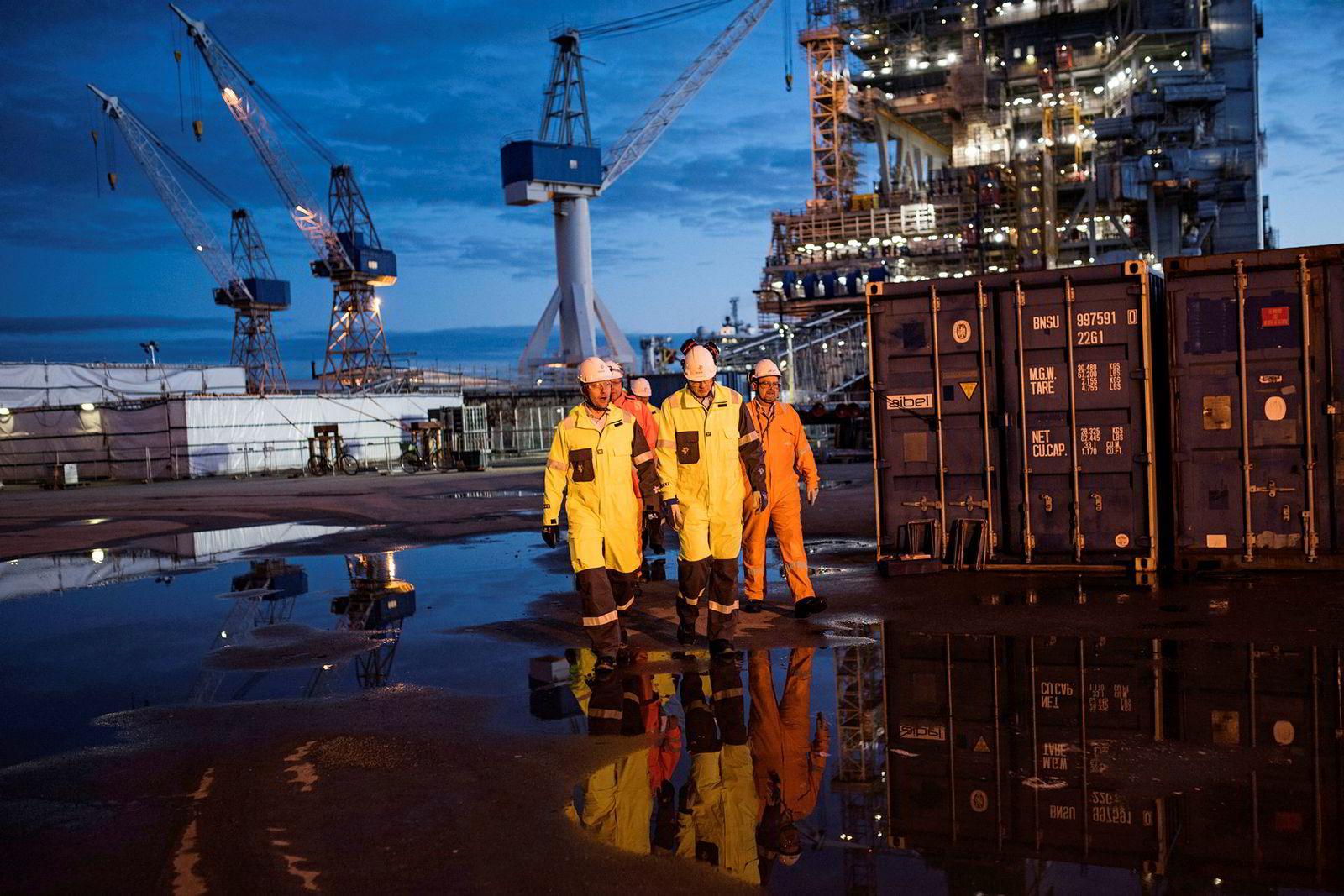 Stavanger, 4. januar 2018:Aibel-verftet i Haugesund var ansvarlig for byggingen av en av fire plattformer på feltet. Det sikret verftet arbeid midt under oljekrisen.