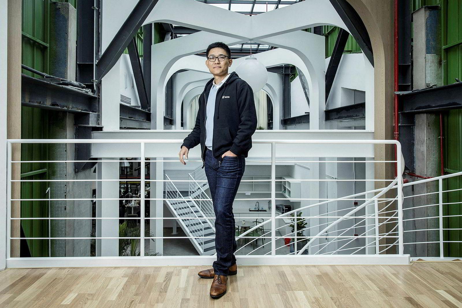 Wang Lis populære app for å lære engelsk – Liulishuo eller LingoChamp – hentet i juli inn hundre millioner dollar i ny kapital. Her i selskapets hovedlokaler i Shanghai i Kina.