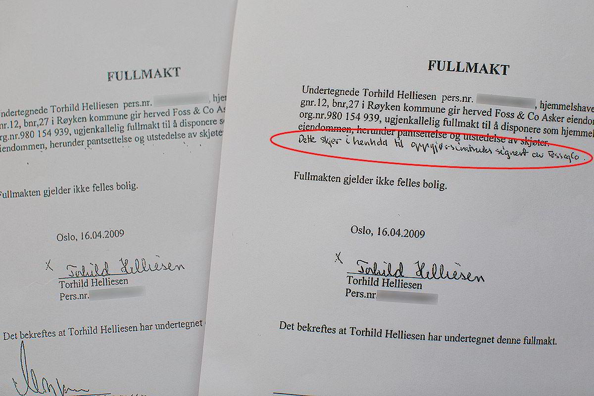 Her er to versjoner av fullmakten eiendomsmegler Morten Bjerke fikk Torhild Helliesen til å signere. På originaldokumentet (til høyre) skrev Helliesen inn en opplysning som begrenset fullmaktens gyldighet. På kopien banken (til venstre) fikk, var begrensningen fjernet.