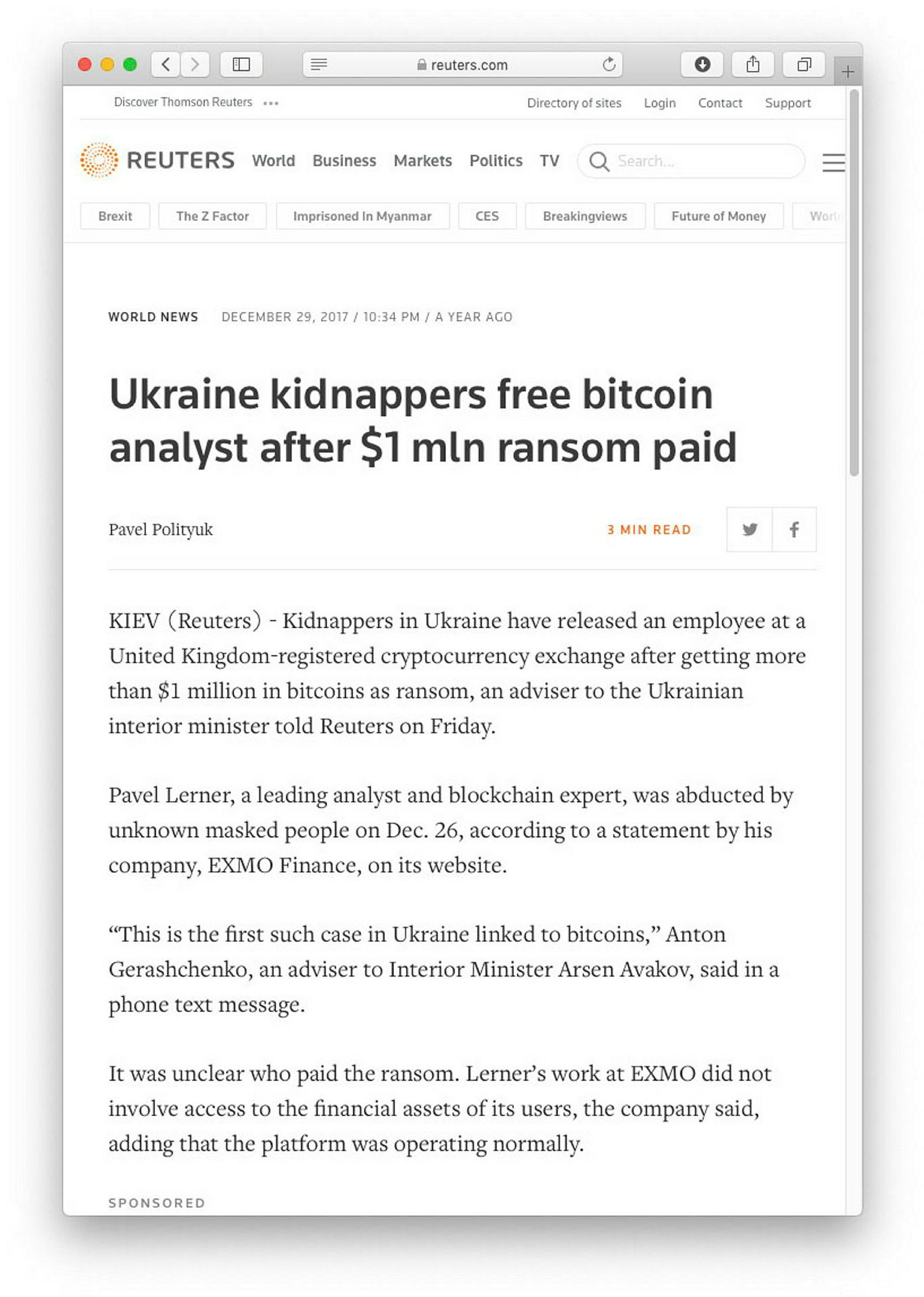 Pavel Lerner, sjef i kryptoselskapet Exmo Finance kidnappet i Ukraina