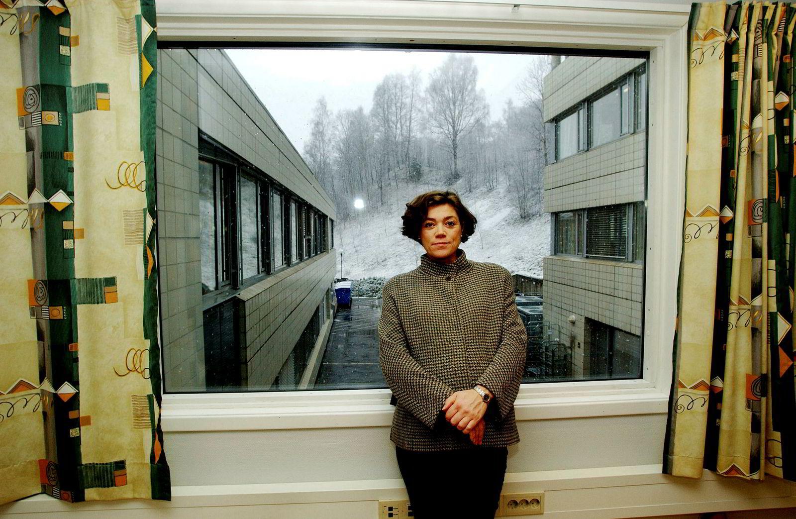 Sol-sjef Kristin Skogen Lund på kontoret i Nydalen i mars 2002.