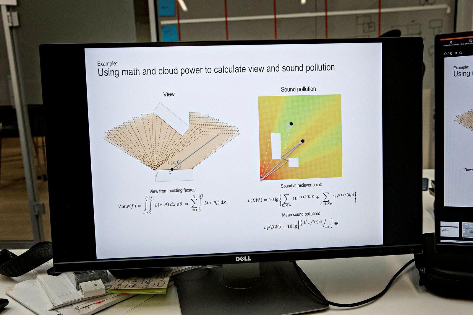 Mye av Spacemakers arbeid handler om å kunne uttrykke kvaliteter ved et byggeprosjekt som matematiske formler. Til venstre ser du formelen for god utsikt. Til høyre formelen for lydforurensning.