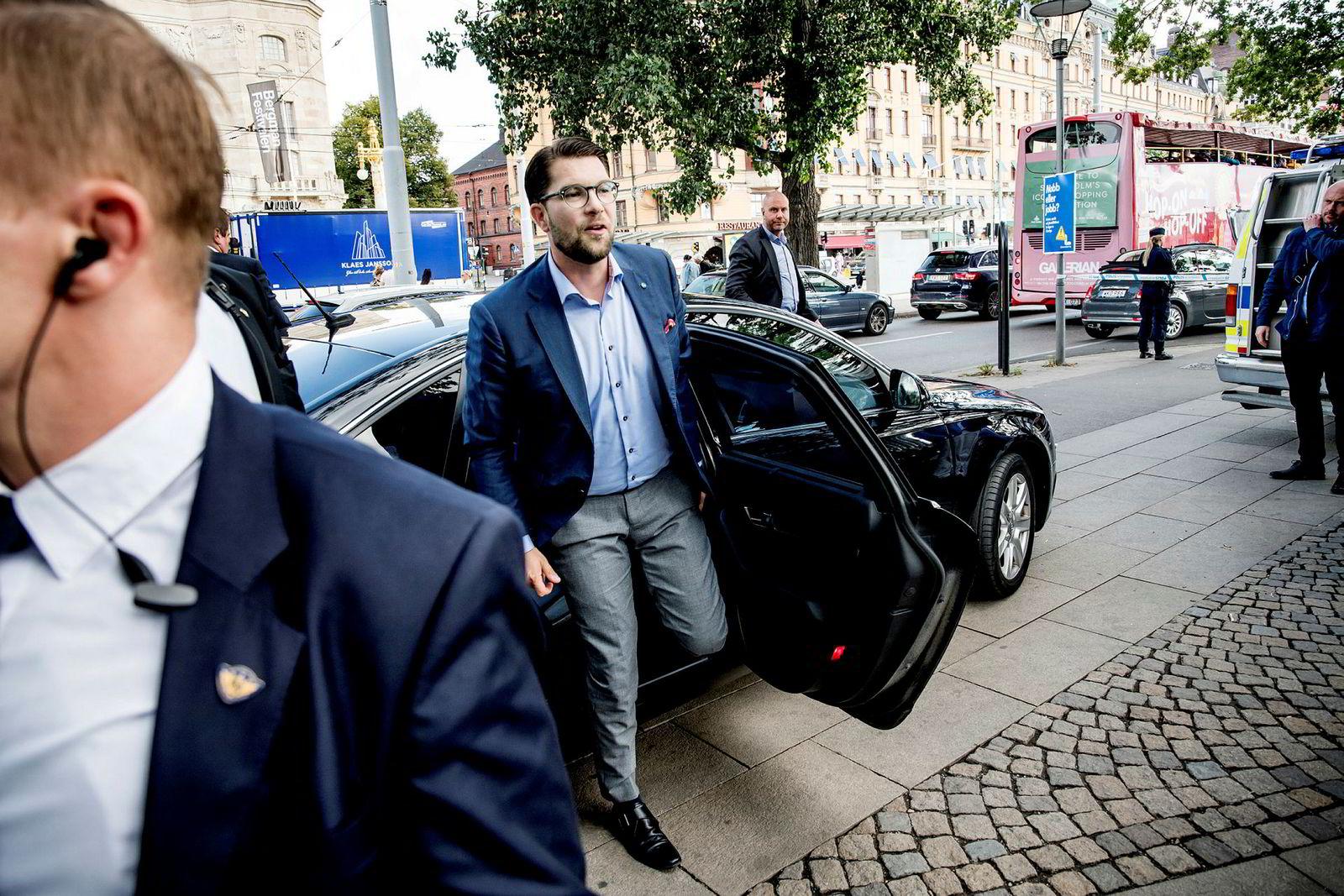 Jimmie Åkesson, partileder i Sverigedemokraterna, deltok på et valgmøte i Stockholm onsdag. Foto: Gorm K. Gaare