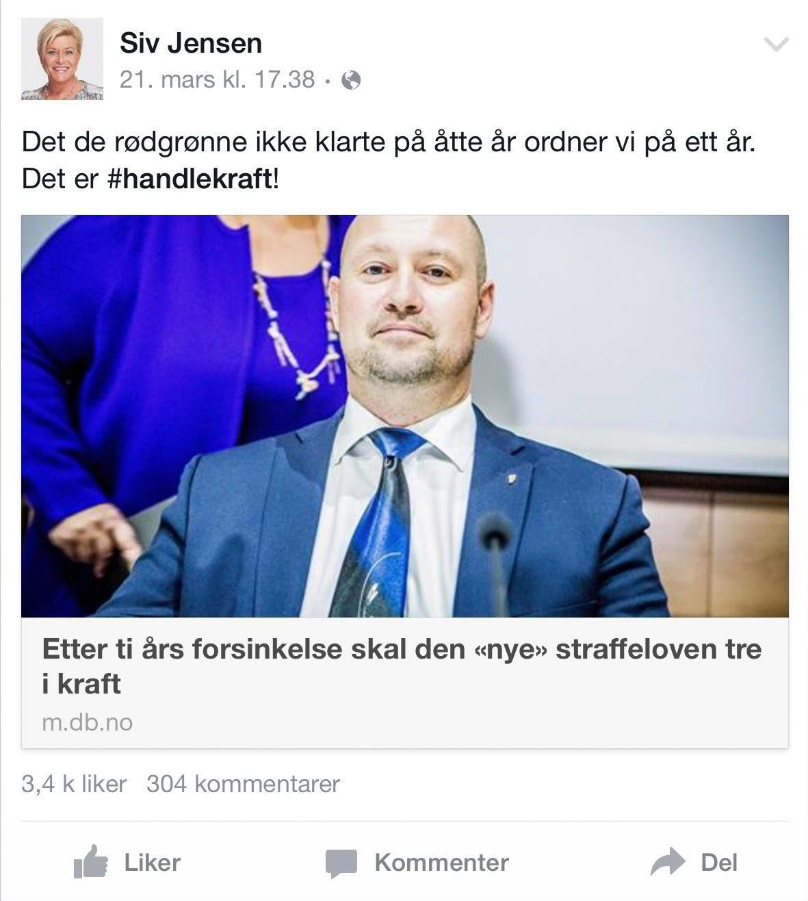 Sist finansministeren skrøt online.  Kilde: Siv Jensens Facebook-profil