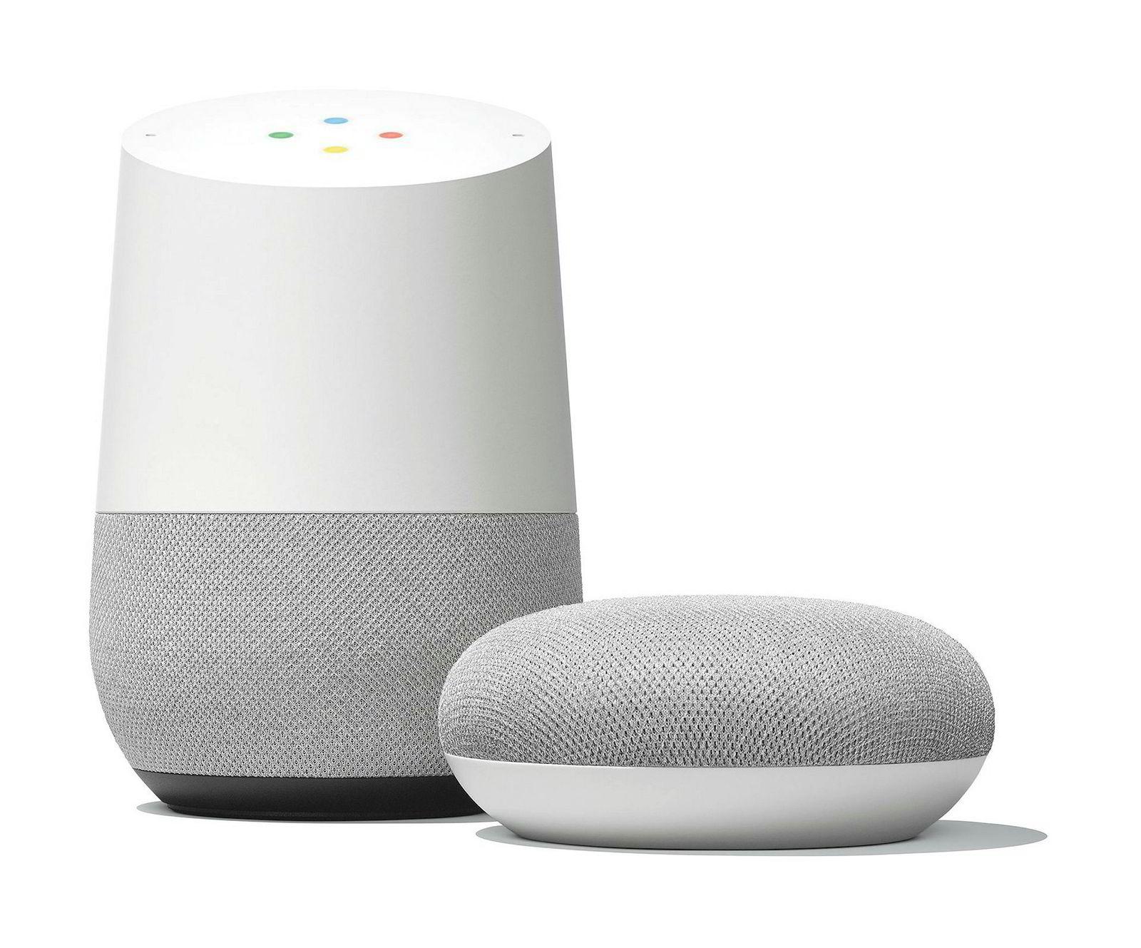 Google Home og Home Mini.