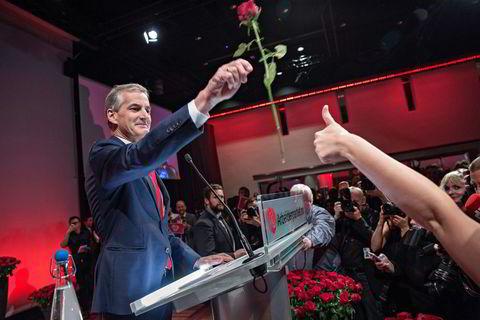 Jonas Gahr Støre på Arbeiderpartiets valgvake i Folkets hus i Oslo.