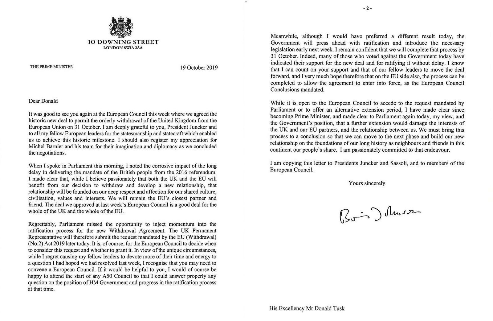 Dette tilleggsbrevet sendte Boris Johnson til Donald Tusk. Der argumenterte han mot en ny brexit-utsettelse.
