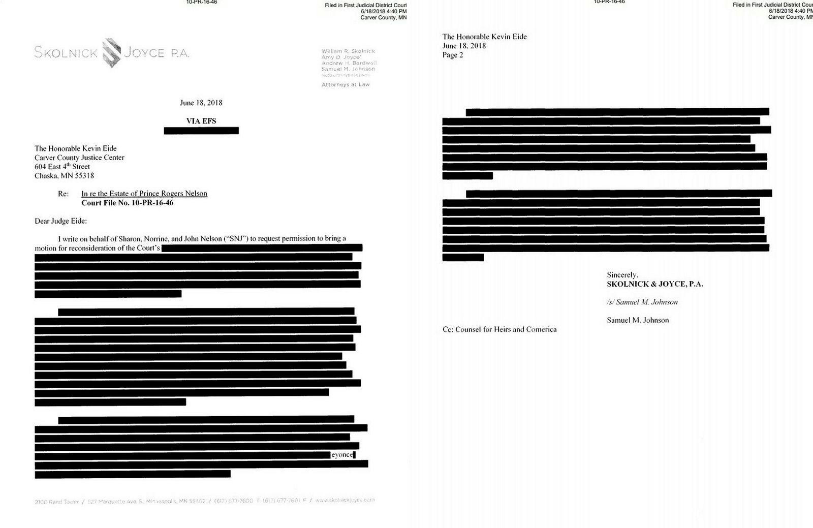 Brevet fra advokat Samuel M. Johnson fra advokatselskapet Skolnick & Joyce er nå lagt ut igjen på nettsidene. Det meste av innholdet i brevet er nå sladdet.