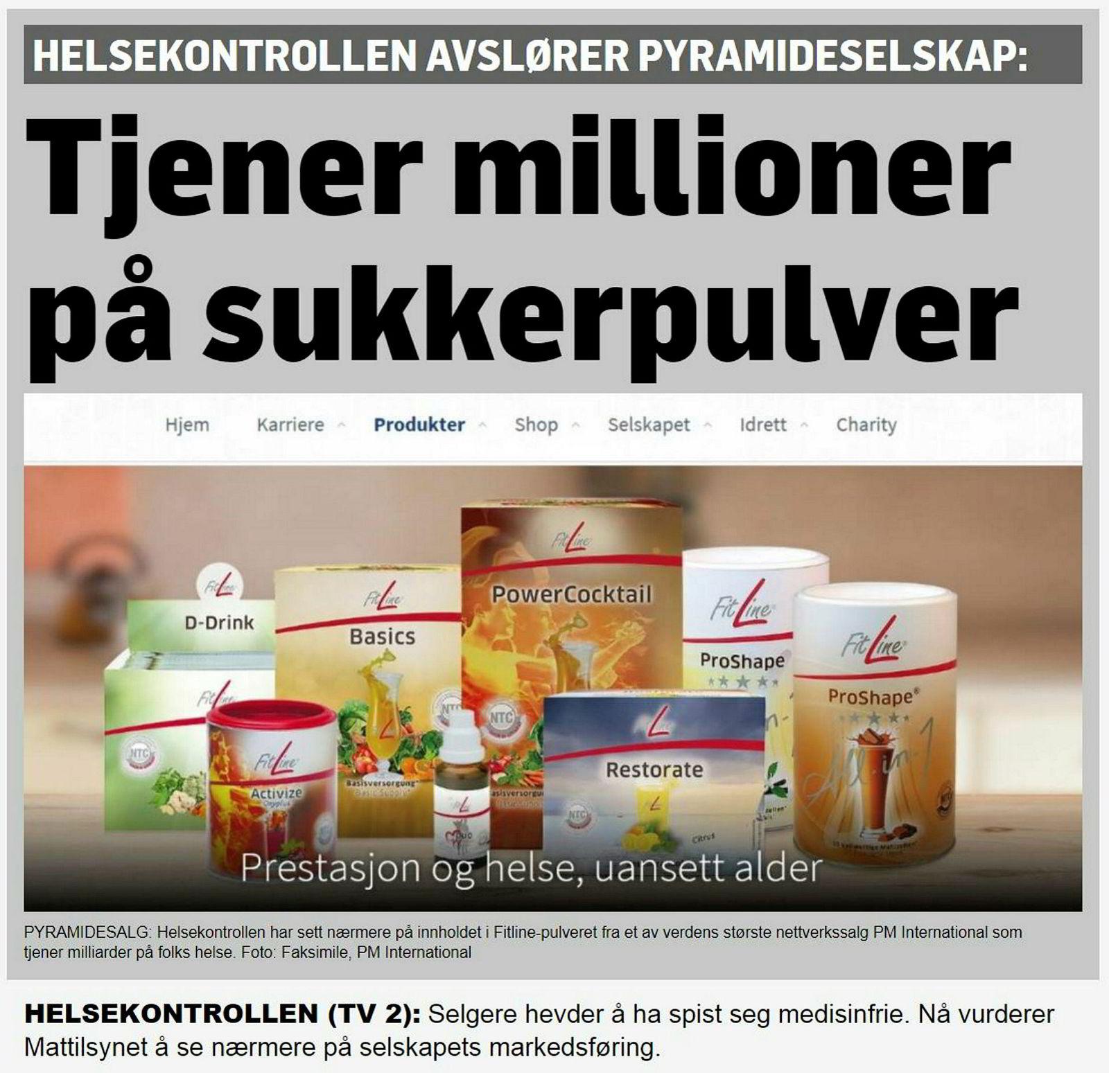 Slik ser «Helsekontrollen»-reportasjen om Fitline-pulveret og produsent PM International ut på TV 2s nettsider.
