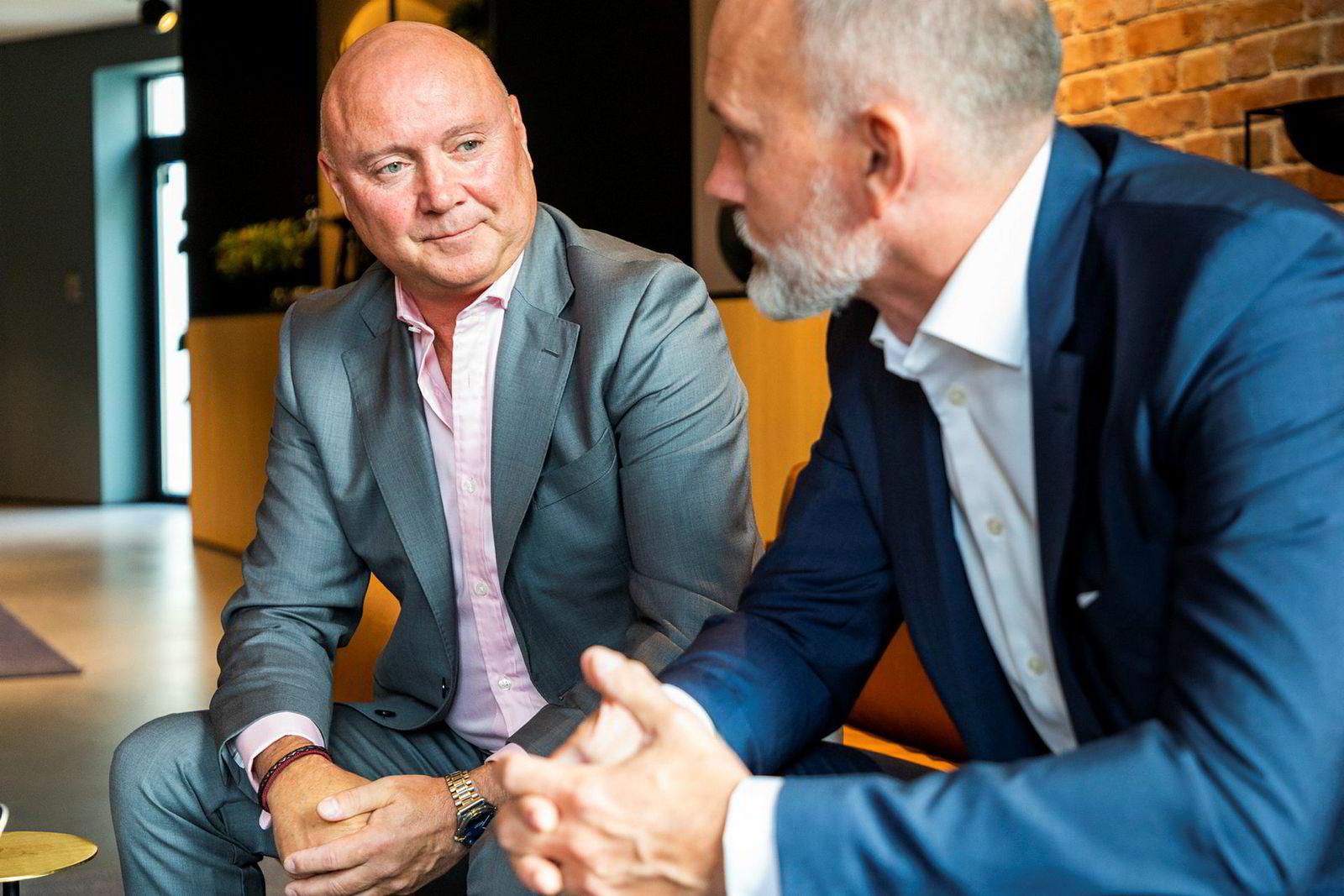 Styreleder Thomas Christensen (til venstre) og administrerende direktør Geir Johansen i Element.