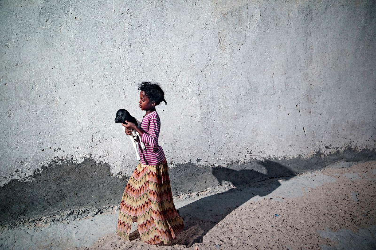 En liten jente bærer et lam med hjem. Flere tiår med krig, sult og terror har herjet med Somalia og hovedstaden Mogadishu. Ingen regjeringer har vært levedyktige og har vært offer for terroristene i Al Shabaab og andre klaner. Norsk-somaliske Hassan Ali Khaire er blitt statsminister i et av verdens verste land å styre.