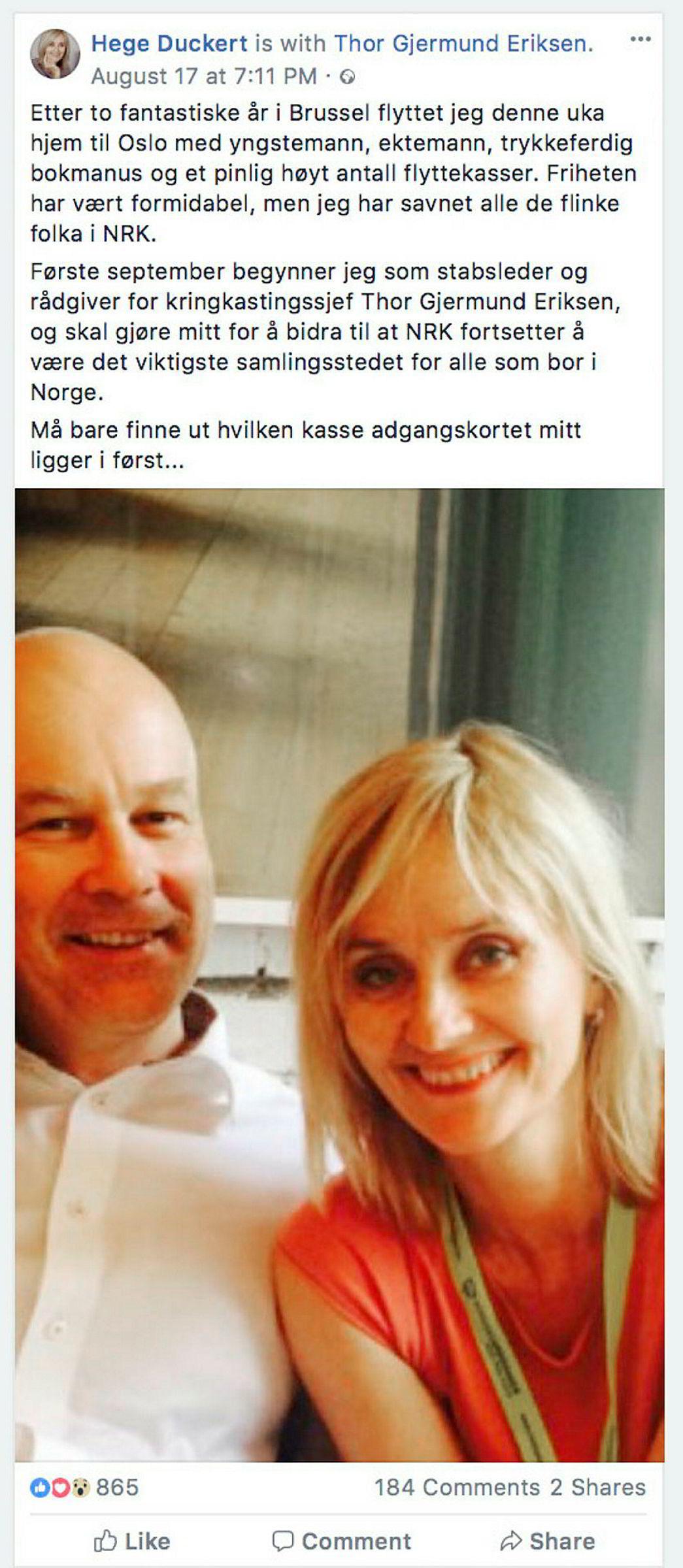 Hege Duckert annonserte bytte av stilling på sin Facebook-side.