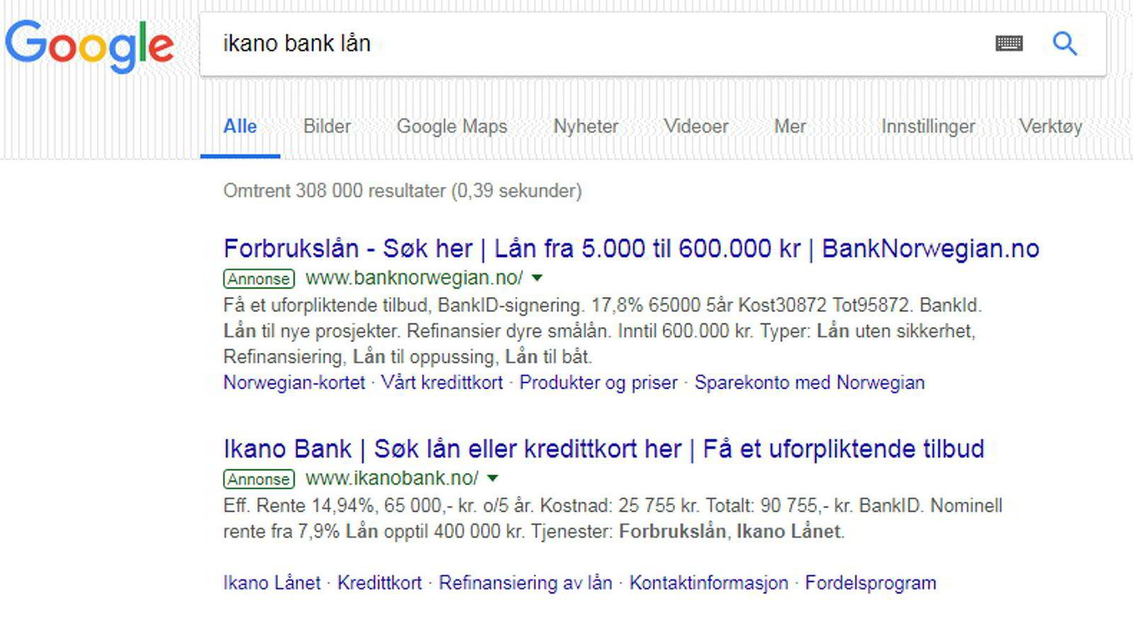 Bank Norwegian kommer først i søkeresultatene når man søker på lån i Ikano Bank. Søket ble gjort fredag 16. november.