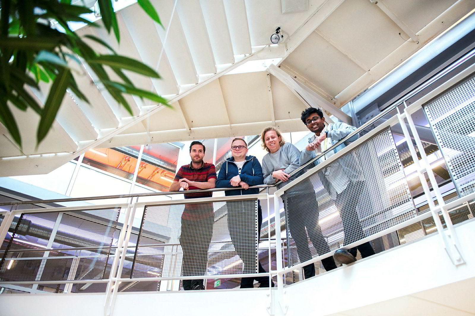 Fra venstre: CTO Ole Nordviste, Michal Pietrzyk, CFO CEO Maths Mathisen og Vinoth Vinaya satser stort.