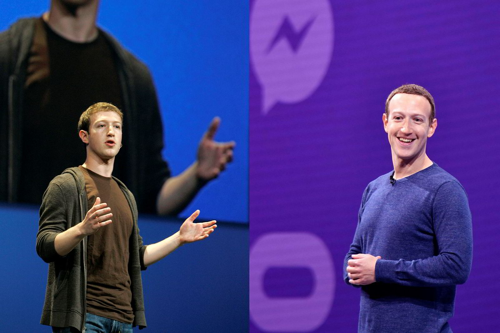 #10yearchallenge: Facebook-sjef Mark Zuckerberg i 2008 og 2018.