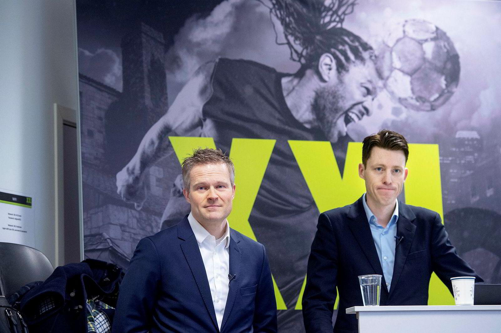XXls fungerende konsernsjef Tolle Grøterud (til høyre) og finansdirektør Stein Eriksen.