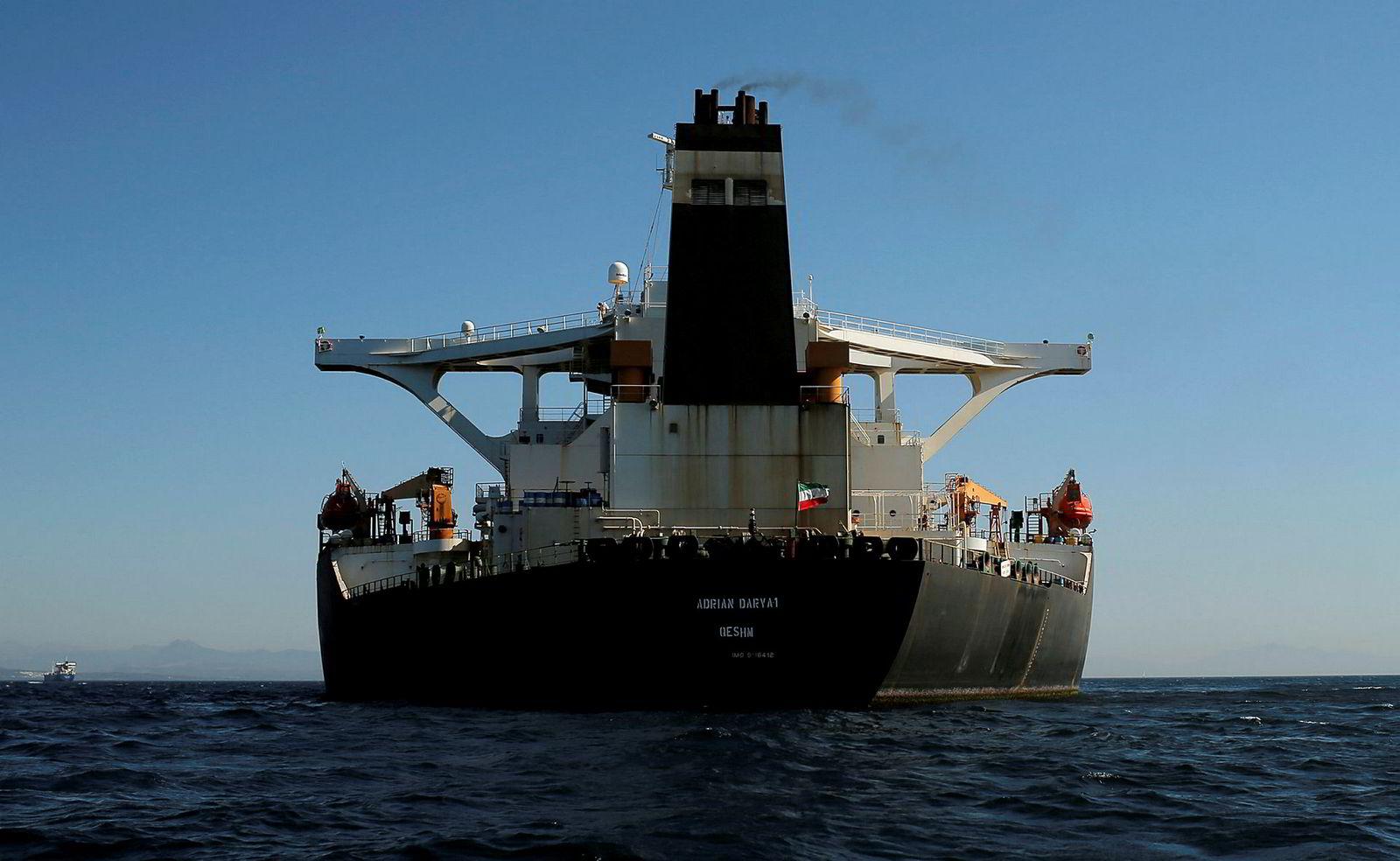 Her er skipet «Adrian Darya 1» utenfor Gibraltar 18. august etter det ble løslatt av Storbritannia.