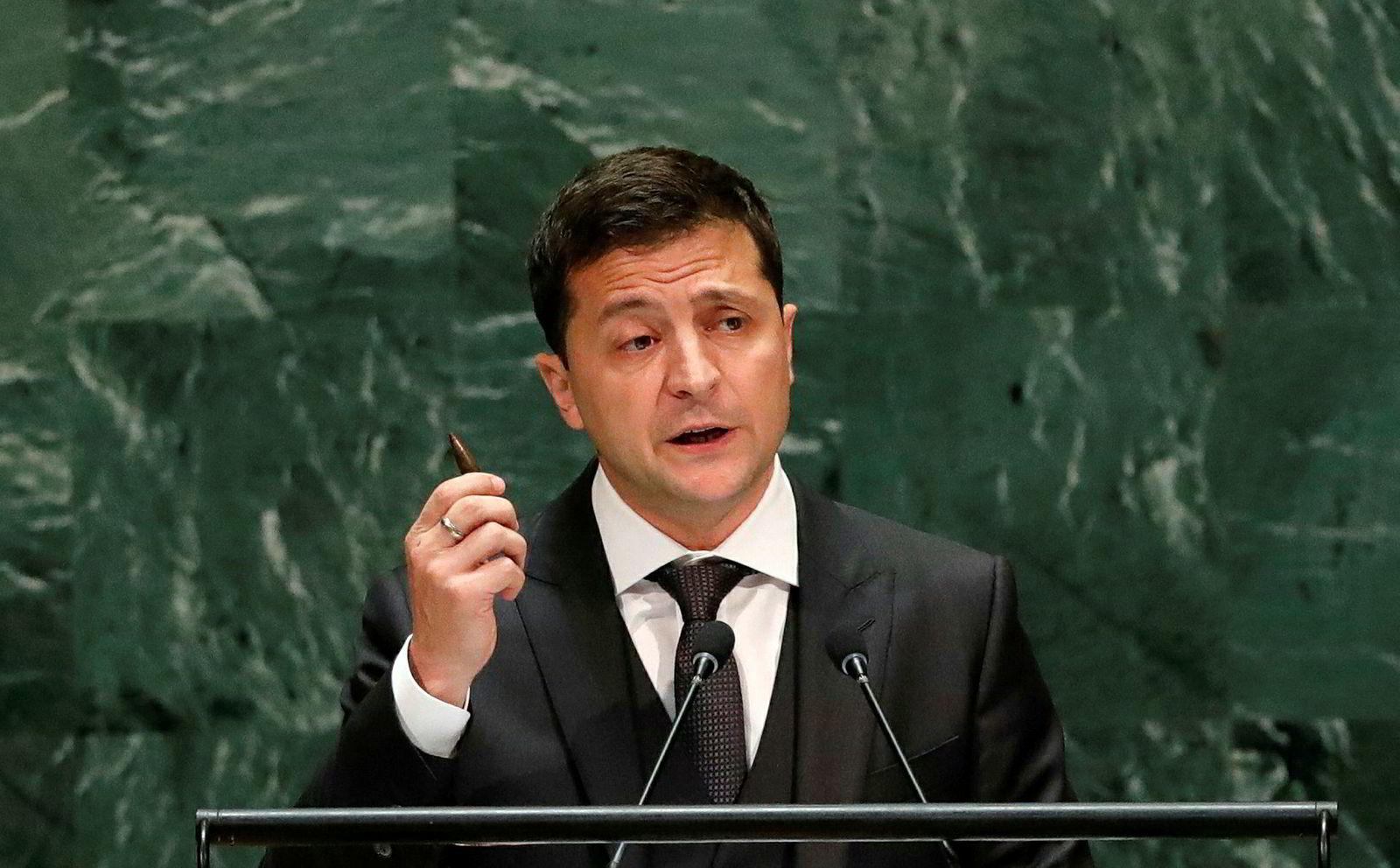 Ukrainas president Volodymyr Zelenskyj holder innlegg i FN nå onsdag.
