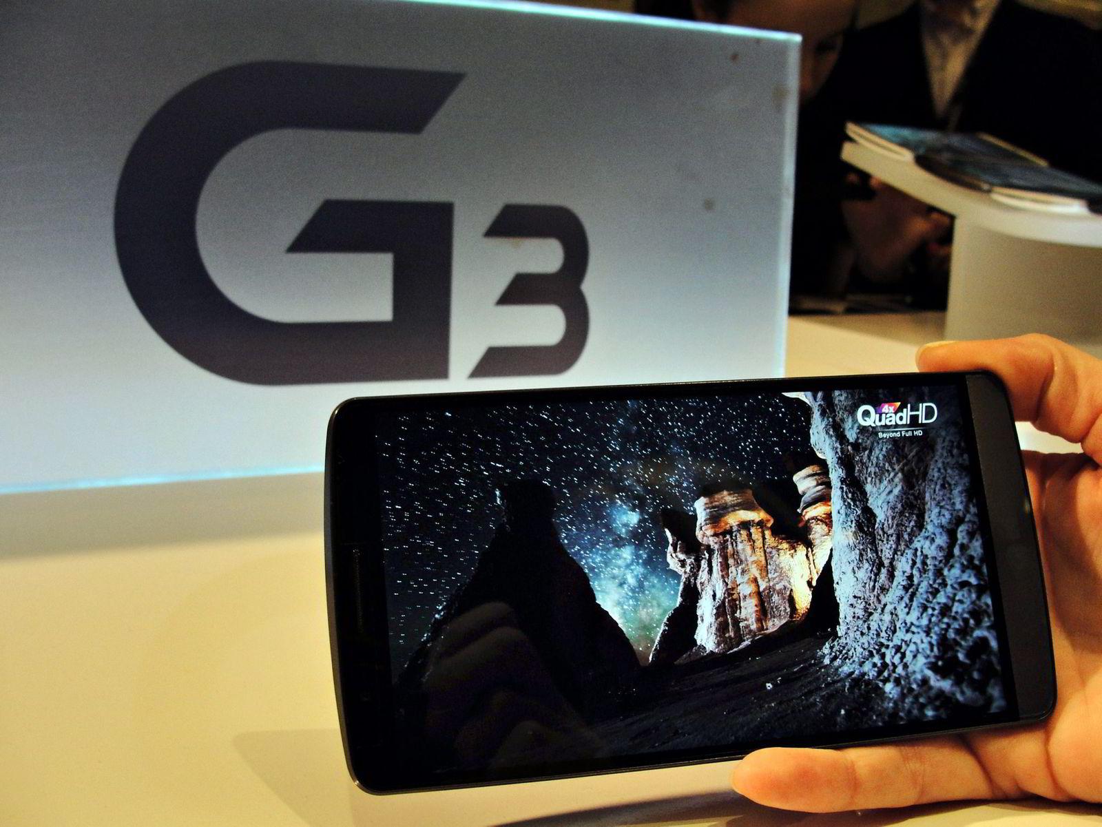 RIK PÅ PIKSLER. LG G3 er den første telefonen som lanseres med QHD-skjerm, som gir den flere billedpunkter enn det en vanlig hd-tv har. Foto: Glenn Chapman, Afp/NTB Scanpix