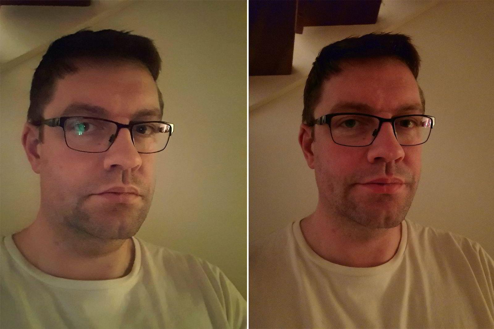 Selfie i svak belysning. Galaxy S10+ til venstre, Mate 20 Pro til høyre.